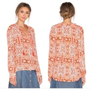 Blousant Belle' Print Split Neck Peasant Top